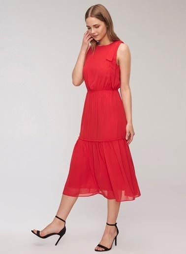 People By Fabrika Kuşak Detaylı Elbise Kırmızı